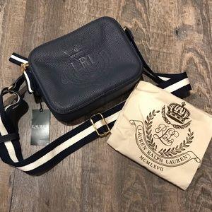 NWT Ralph Lauren Navy Huntley Camera Bag Crossbody